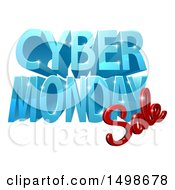 Clipart Of A 3d Cyber Monday Sale Design In Blue And Red Royalty Free Vector Illustration by AtStockIllustration