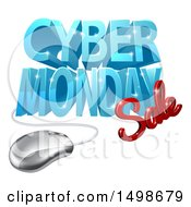 Clipart Of A 3d Computer Mouse And Cyber Monday Sale Design In Blue And Red Royalty Free Vector Illustration by AtStockIllustration