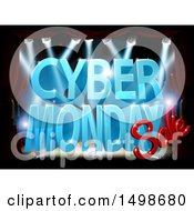 Clipart Of A 3d Lit Up Stage With A Cyber Monday Sale Design In Blue And Red Royalty Free Vector Illustration