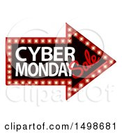 Clipart Of A 3d Marquee Sign With Cyber Monday Sale Text Royalty Free Vector Illustration by AtStockIllustration