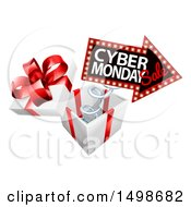 Clipart Of A 3d Marquee Arrow Sign With Cyber Monday Sale Text Springing Out Of A Gift Box Royalty Free Vector Illustration by AtStockIllustration