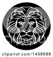 Clipart Of A Zodiac Horoscope Astrology Leo Lion Circle Design Black And White Royalty Free Vector Illustration by AtStockIllustration