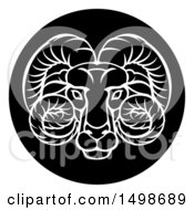 Clipart Of A Zodiac Horoscope Astrology Aries Ram Circle Design Black And White Royalty Free Vector Illustration