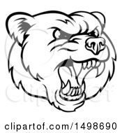 Mad Grizzly Bear Mascot Head Black And White