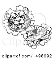 Clipart Of A Black And White Bobcat Gamer Mascot Breaking Through A Wall And Playing A Video Game Royalty Free Vector Illustration by AtStockIllustration