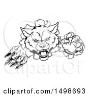 Clipart Of A Black And White Wolf Slashing Through A Wall Royalty Free Vector Illustration