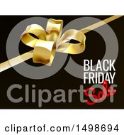 Clipart Of A 3d Gift Bow And Black Friday Sale Text On Black Royalty Free Vector Illustration by AtStockIllustration