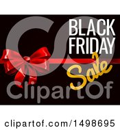 3d Gift Bow And Black Friday Sale Text On Black