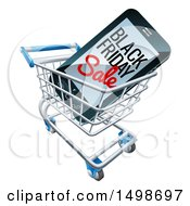Clipart Of A 3d Smart Phone With Black Friday Sale Text On The Screen In A Shopping Cart Royalty Free Vector Illustration by AtStockIllustration