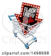 Clipart Of A 3d Arrow Marquee Sign With Black Friday Sale Text In A Shopping Cart Royalty Free Vector Illustration by AtStockIllustration