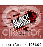 Clipart Of A 3d Marquee Arrow Sign With Black Friday Sale Text Breaking Through A Brick Wall Royalty Free Vector Illustration by AtStockIllustration