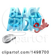 Clipart Of A 3d Computer Mouse And Black Friday Sale Design In Blue And Red Royalty Free Vector Illustration by AtStockIllustration