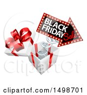 Clipart Of A 3d Arrow Marquee Sign With Black Friday Sale Text Springing Out Of A Gift Box Royalty Free Vector Illustration by AtStockIllustration
