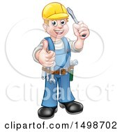 Clipart Of A Cartoon Full Length Happy White Male Electrician Holding Up A Screwdriver And Thumb Royalty Free Vector Illustration