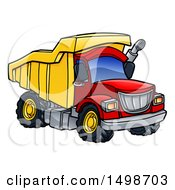 Clipart Of A Cartoon Red And Yellow Dump Truck Royalty Free Vector Illustration by AtStockIllustration