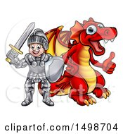 October 16th, 2017: Clipart Of A White Boy Knight By A Red Dragon Royalty Free Vector Illustration by AtStockIllustration