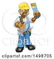 Happy African American Male Painter Holding Up A Brush And Giving A Thumb Up