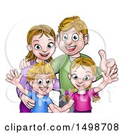 Cartoon Caucasian Brother And Sister With Their Mom And Dad