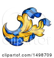 Clipart Of A Blue And Yellow Vintage Heraldry Floral Design Element Royalty Free Vector Illustration