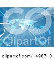 Clipart Of A Blue World Map Arrows And Paths Background Royalty Free Vector Illustration