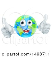 Happy Earth Globe Mascot Giving Two Thumbs Up