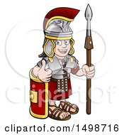 Cartoon Happy Roman Soldier Giving A Thumb Up Holding A Spear And Leaning On A Shield
