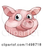 Clipart Of A Happy Pig Mascot Face Royalty Free Vector Illustration by AtStockIllustration