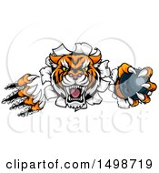 Clipart Of A Vicious Tiger Mascot Slashing Through A Wall With A Bowling Ball Royalty Free Vector Illustration by AtStockIllustration