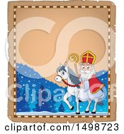 Clipart Of A Horseback Christmas Sinterklaas On A Parchment Page Royalty Free Vector Illustration by visekart