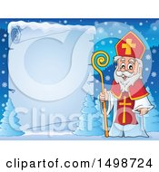 Clipart Of A Christmas Sinterklaas By A Frozen Scroll Royalty Free Vector Illustration by visekart