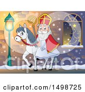 Clipart Of A Horseback Christmas Sinterklaas On A Sidewalk Royalty Free Vector Illustration