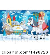 Clipart Of A Horseback Christmas Sinterklaas In A Town Royalty Free Vector Illustration by visekart