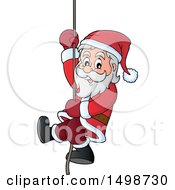 Clipart Of A Christmas Santa Claus Climbing A Rope Royalty Free Vector Illustration by visekart