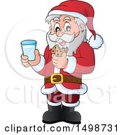 Christmas Santa Claus Enjoying A Snack Of Milk And Cookies