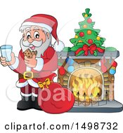 Christmas Santa Claus Enjoying A Snack Of Milk And Cookies By A Fireplace