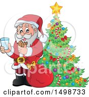 Clipart Of A Christmas Santa Claus Enjoying A Snack Of Milk And Cookies By A Tree Royalty Free Vector Illustration by visekart