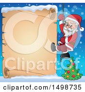 Christmas Santa Claus Climbing A Rope Over A Parchment Scroll