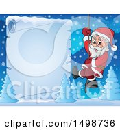 Christmas Santa Claus Climbing A Rope Over A Frozen Parchment Scroll