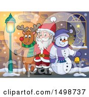 Clipart Of A Christmas Santa Claus With A Reindeer And Snowman Royalty Free Vector Illustration