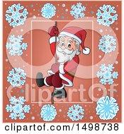 Clipart Of A Christmas Santa Claus Climbing A Rope Royalty Free Vector Illustration