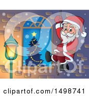 Clipart Of A Christmas Santa Claus Climbing A Rope By A Window Royalty Free Vector Illustration