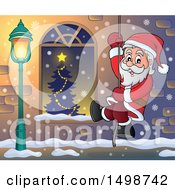 Christmas Santa Claus Climbing A Rope By A Window