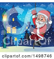 Clipart Of A Christmas Santa Claus Climbing A Rope Royalty Free Vector Illustration