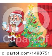 Christmas Santa Claus Enjoying A Snack Of Milk And Cookies By A Tree