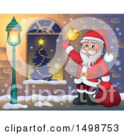 Christmas Santa Claus Ringing A Bell By A Window