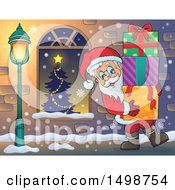Clipart Of A Christmas Santa Claus Carrying Gifts Royalty Free Vector Illustration