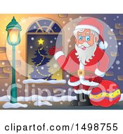 Clipart Of A Christmas Santa Claus Royalty Free Vector Illustration