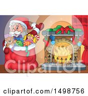 Clipart Of A Christmas Santa Claus And Sack By A Fireplace Royalty Free Vector Illustration by visekart