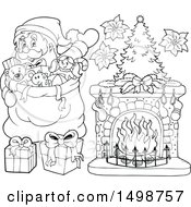 Clipart Of A Black And White Christmas Santa Claus With A Sack Royalty Free Vector Illustration by visekart