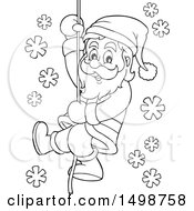 Black And White Christmas Santa Claus Climbing A Rope